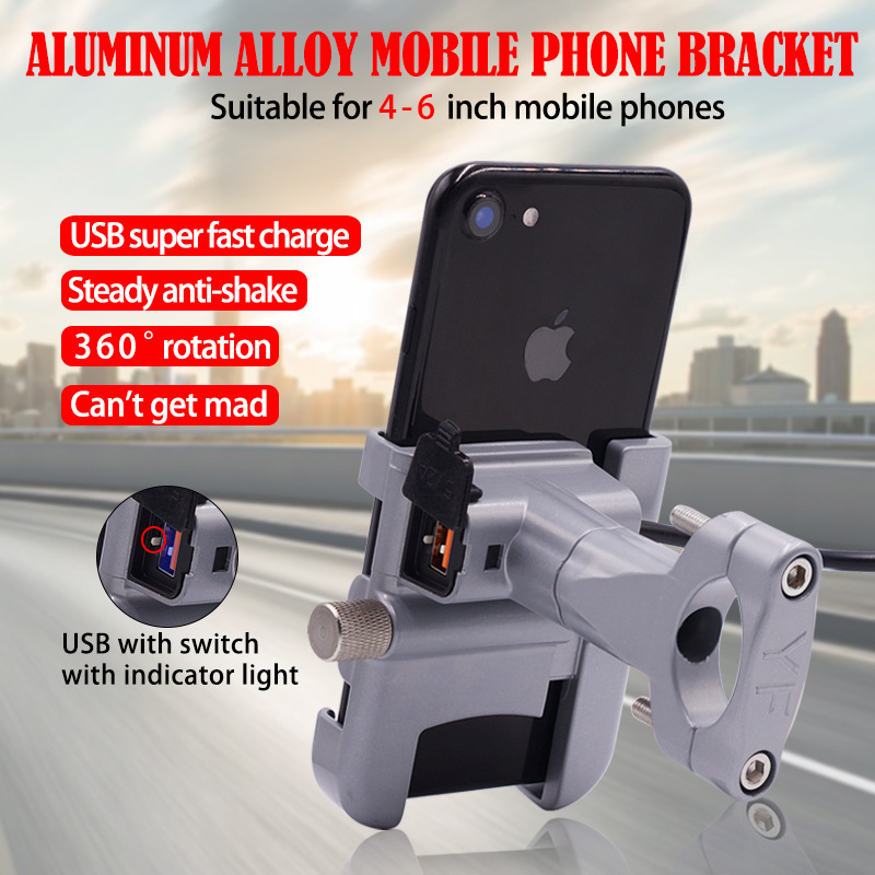 BuzzLee Motorcycle Universal Aluminum Alloy Phone Holder With USB Charger Handlebar Bracket For Stand For 4-6 Inch Phone Holder
