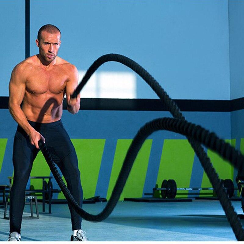 12 m/15 m dacron material pesado ouro preto batalhando corda treinamento de força do corpo físico esporte fitness exercício workout corda - 5