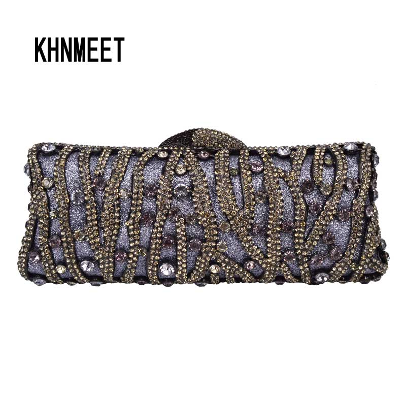 Luxury Diamond Crystal Grey Clutch Evening Bag Women Party Purse Chain Day  Clutch Bag Mini Chain bb14d01f026b