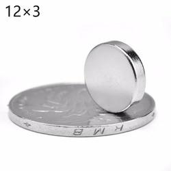 Venta al por mayor de alta calidad 10 Uds. 12x3mm imanes de disco redondos súper fuertes imán de neodimio de tierras raras N52 12*3MM