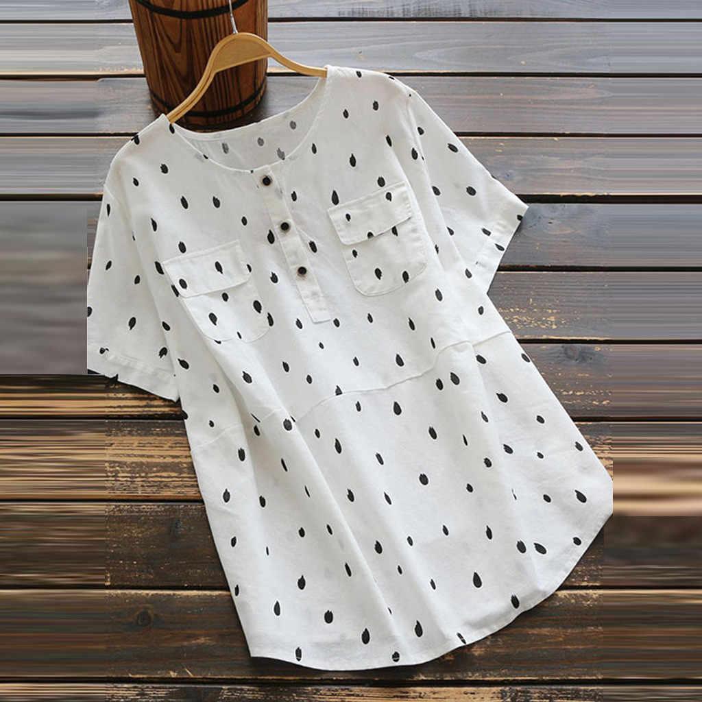 Женская блузка с волнистыми точками летняя винтажная блуза круглым вырезом и