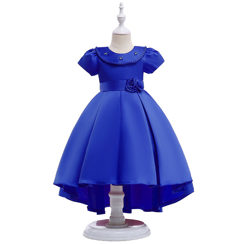New Arrival 2019 Little   Girls   Pageant   Dress   Royal Blue Ball Gown Beads Lace Applique Floor Length   Flower     Girls     Dress