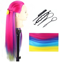 CAMMITEVER New Arrival Rainbow Mannequin Heads with Tools Colorful Hair Head Hairdresser Training Tool