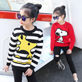Free Winter New Year girls cartoon sweater Fashion round neck thickened striped sweater for girls
