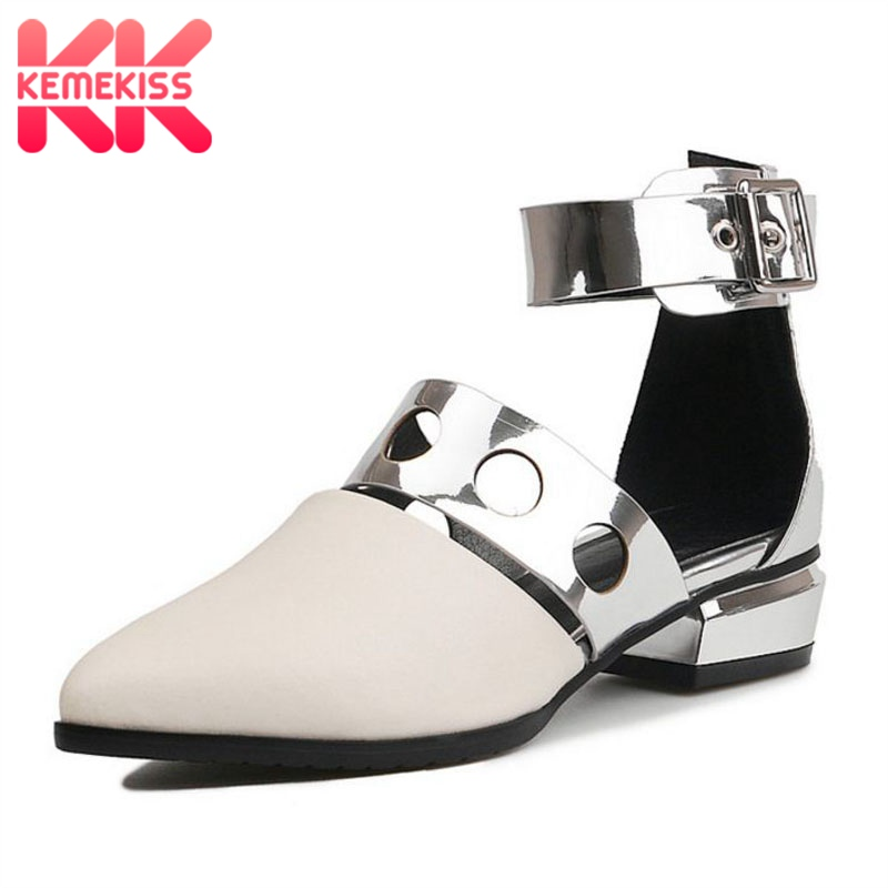 KemeKiss New Fashion Sandals Women Real Leather Ankle Strap Pointed Toe Women S Shoes Fashion Party