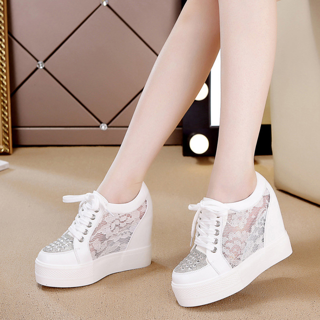 women vulcanize shoe Women casual shoes Mesh Platform Height Increasing White hot lace Wedges Trainers Breathable Tenis Feminino