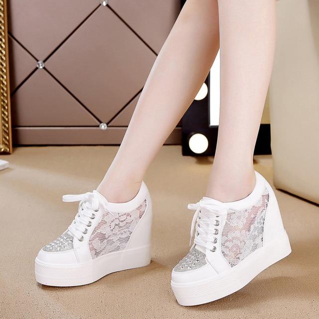 women vulcanize shoe Women casual shoes Mesh Platform Height Increasing White hot lace Wedges Trainers Breathable Tenis Feminino