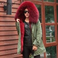 2017 Роскошные Для женщин зима большой реальный енот меховой воротник с капюшоном длинное пальто натуральным лисьим мехом лайнер Army Green куртк