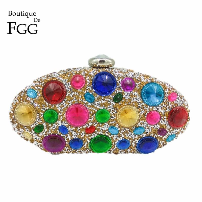 Boutique De FGG Multi Color Large Diamond Women Gold Metal Evening Purse Clutch Bridal Crystal Handbag Wedding Party Clutch Bag