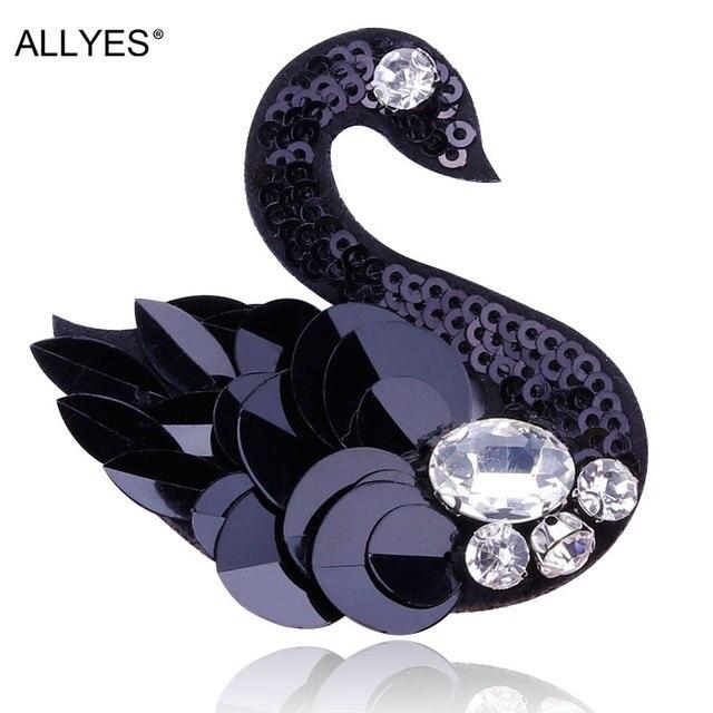 Allyes Прекрасный Черный лебедь Броши для Для женщин Модные украшения акрил Блёстки Кристалл Костюм с лацканами животных Птица брошь Булавки знак