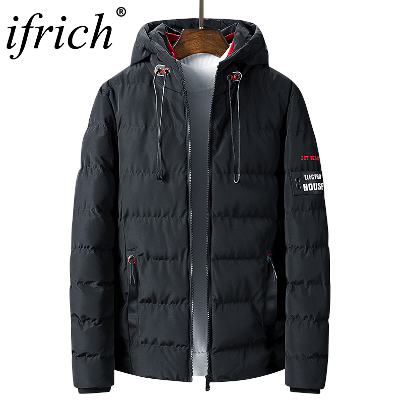 Mens Winter Solid Red Black Parka Warm Jackets Zipper Simple Practical Waterproof Pocket High Quality Parka Casual Bomber Jacket