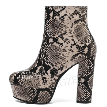 LAIGZEM FASHION 2020 Women Ankle Booties Snake Printing Chunky Heel Zip Short Boots Winter Shoes Botines Mujer Large Size 34-43