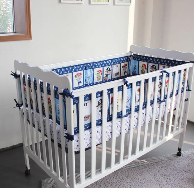 Promotion! 5PCS Baby Infant Crib Bedding set Crib Bed Liner,Baby Bed Sheet 100% Cotton Printed Bumper Set ,(4bumper+bed cover) promotion 5pcs baby cotton crib bedding set for boys applique bumper bed around 4bumper sheet