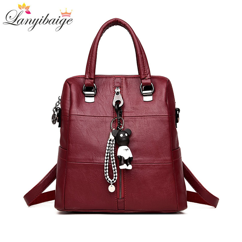 LANYIBAIGE Fashion Women Small Bear Pendant Backpack High Quality Leather Backpacks For Teenage Girls Female School Shoulder Bag