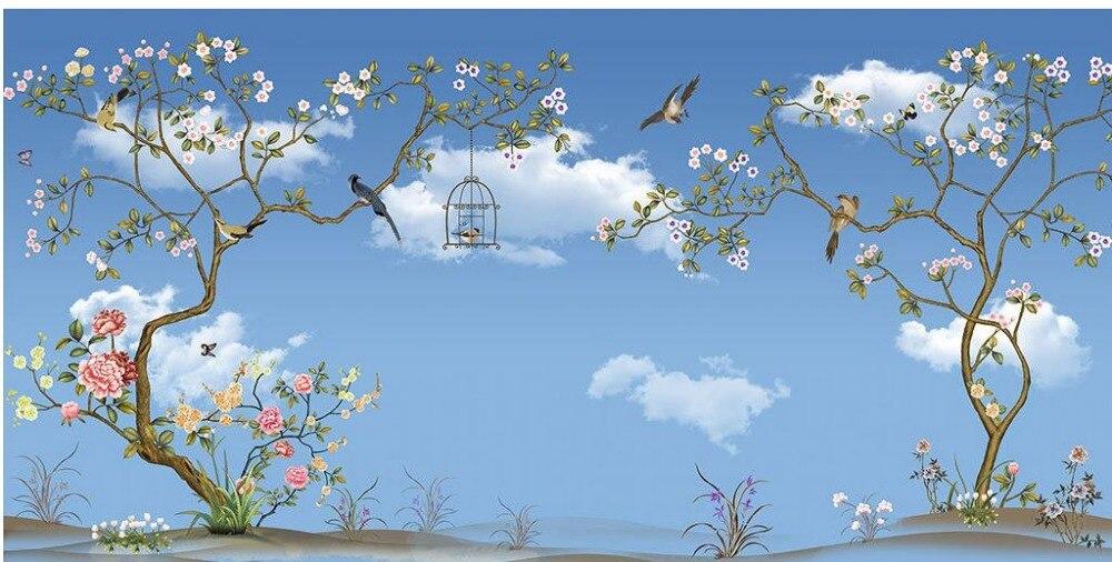 Пользовательские 3d обои голубое небо и белые облака Дерево Птица индивидуальные обои для росписи стен 3d обои - 5