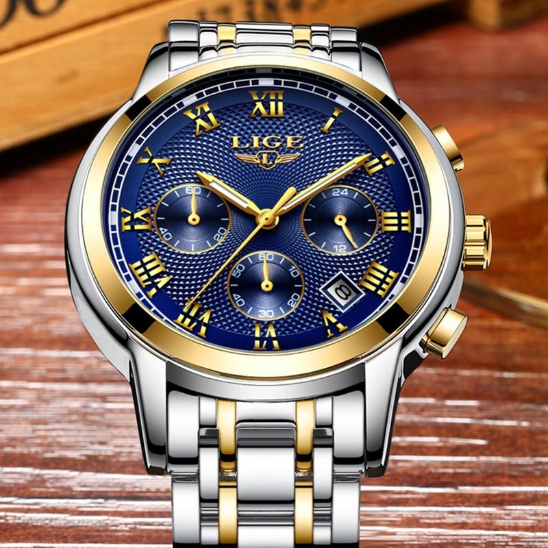 Herenhorloge Top luxe merk LIGE Heren waterdichte quartz horloges - Herenhorloges - Foto 5