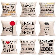45*45 cm Cotton Linen Cushion Cover Love Mr Mrs Letter Throw Pillow Home Decor Wedding Decoration Decorative Pillowcase