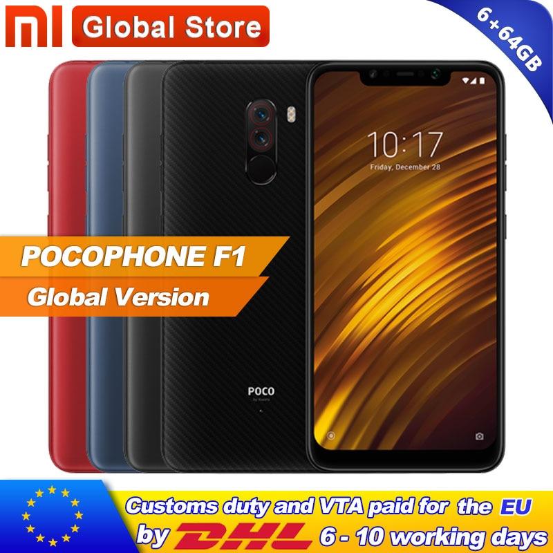 "Global Version Xiaomi POCOPHONE F1 6GB 64GB POCO F1 Smartphone Snapdragon 845 AI Dual Camera  6.18"" Full Screen Display 4000mAh"