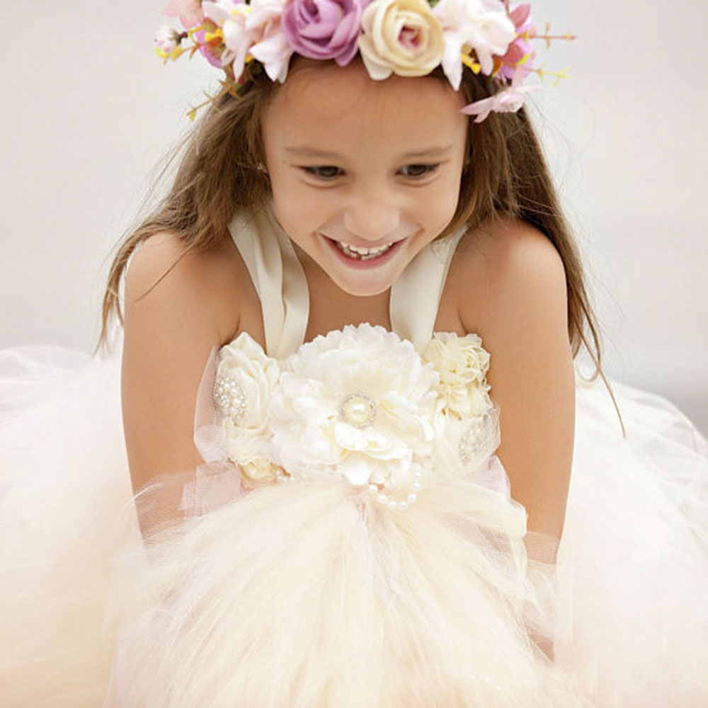 Elegant Ivory Flower Girl Pearl Buttons Tutu Dress Blush Tulle Baby Girls Elastic Birthday Wedding Party Tutu Dresses For Photos baby cartoon flower pattern dress high quality tulle tutu clothes girl christmas costume girl dresses for party and wedding 2017