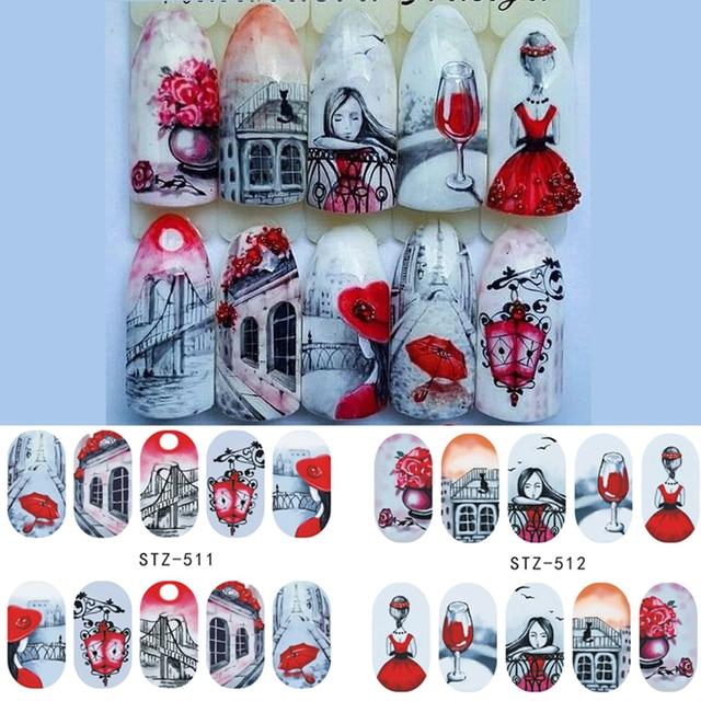 1 hoja de agua adhesivos de flores para manicura/flamenco/Arte de plumas para uñas pegatinas de transferencia de agua calcomanías manicura tatuaje decoración LASTZ501-512