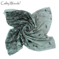 2016 Scarf Women Gray Bird On Trees Cachecol Inverno 100% Viscose Cotton Scarf Stoles Foulard Scarves Shawl Hijab Foulards Sjaal