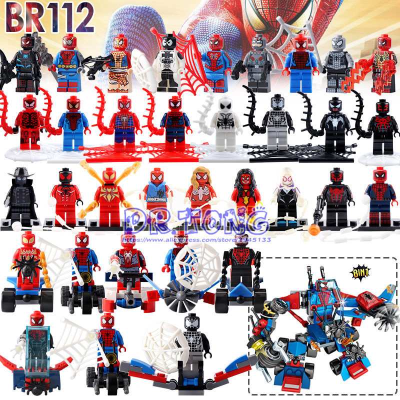 DR.TONG 32pcs/lot Super Heroes Assemble Spiderman Venom Spider Man Figures Building Blocks Collection Educational Gift Toys single sale black spider girl whiplash paladin spiderman building blocks super heroes bricks collection toys for children pg203