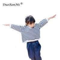 Dziecko Dziewczyny Bluza Dzieci Wiosenne Ubrania Dziewczyny T Koszula Z Długim Rękawem Stripe Bluzki Bawełniane Bluzy Dzieci Odzież Koreański