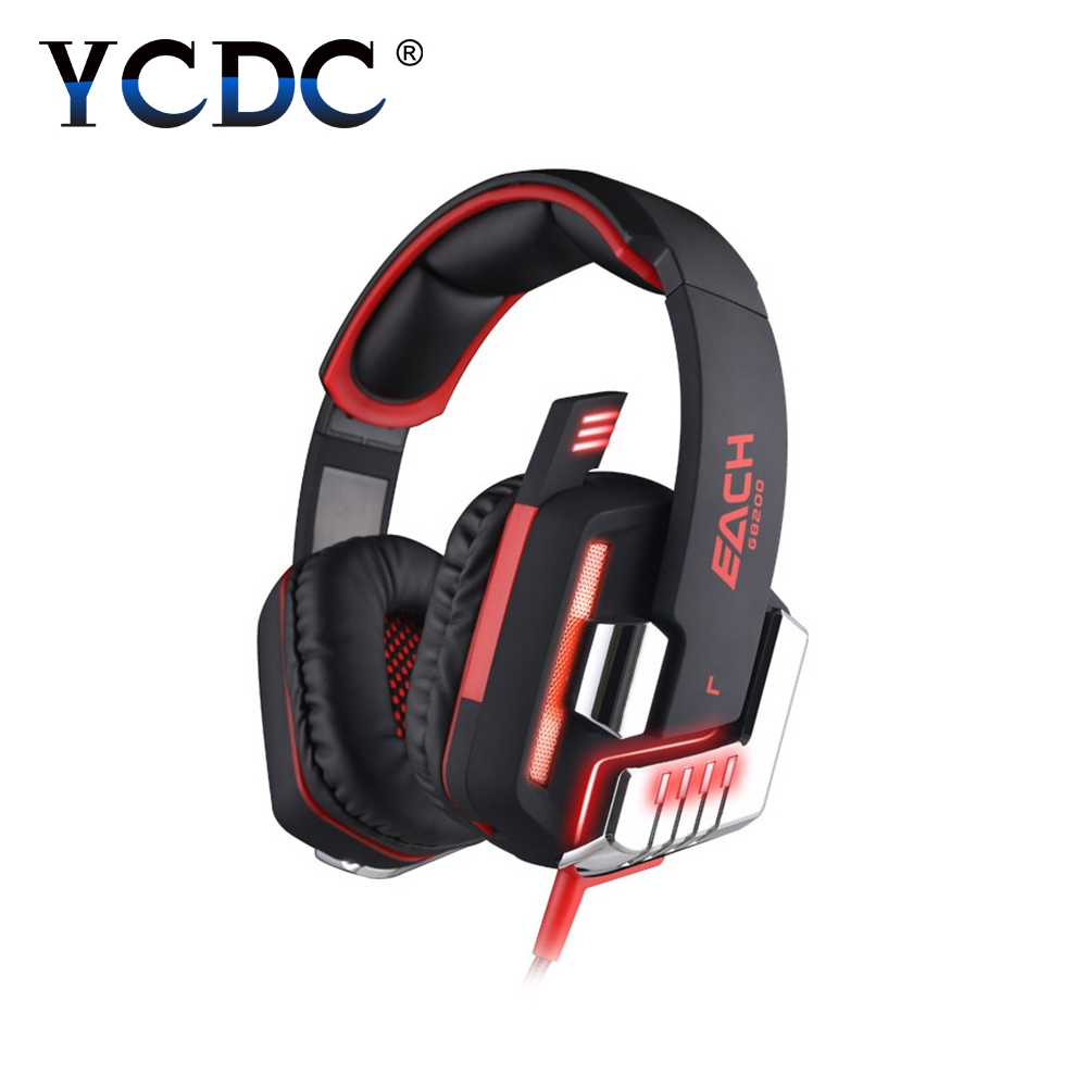 KOTION EACH G8200 Gaming Headphone 7.1 Surround USB Vibration Game Headset Headband Headphone with Mic LED Light for PC Gamer