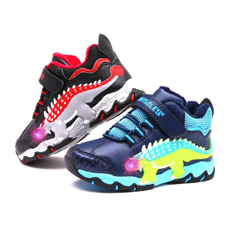 Dinoskulls Children Shoes Light Up Velvet Winter Sneakers Boys LED 3D Dinosaur Kids Trainers 2019 Big Boy Tennis Sports Shoes