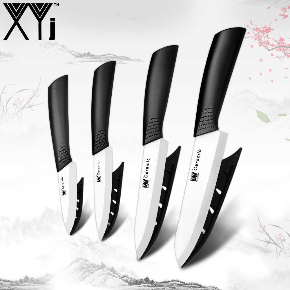 """XYj najwyższej jakości tlenku cyrkonu ceramiczne tasak czarny/białe ostrze 3 """"4"""" 5 """"6"""" cal + osłona nóż ceramiczny zestaw kuchnia Nóż do owoców"""