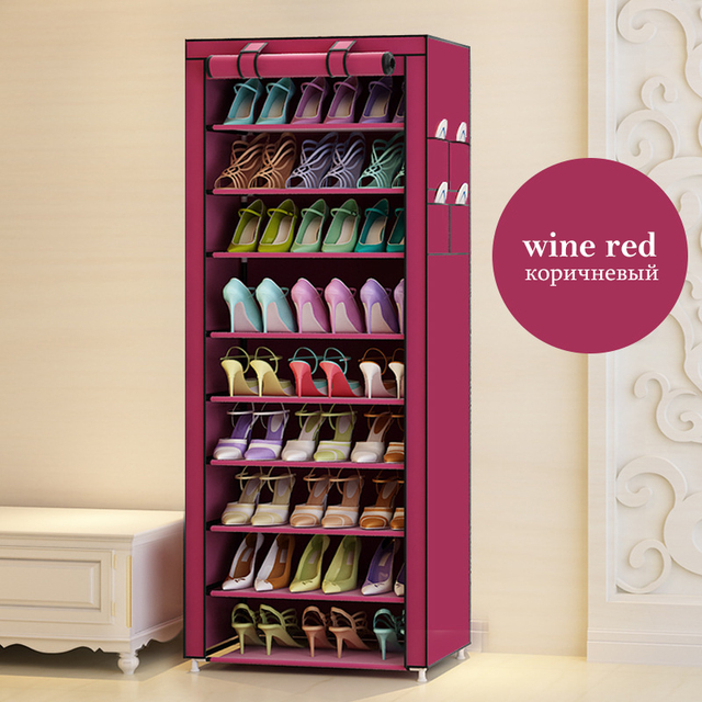 Actionclub Oxford Cloth Minimalist Multi-functional Dustproof Shoe Cabinet Shoes Racks 10 Layer 9 Grid Shoe Organizer Shelf 1