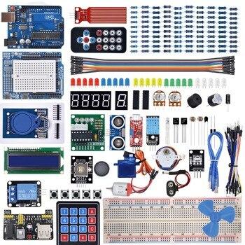 طقم المبتدئين لـ Arduino Uno R3-لوحة الخبز/محرك الخطوة/المؤازرة/1602 LCD/سلك توصيل معزز/UNO R3 مع البرنامج التعليمي