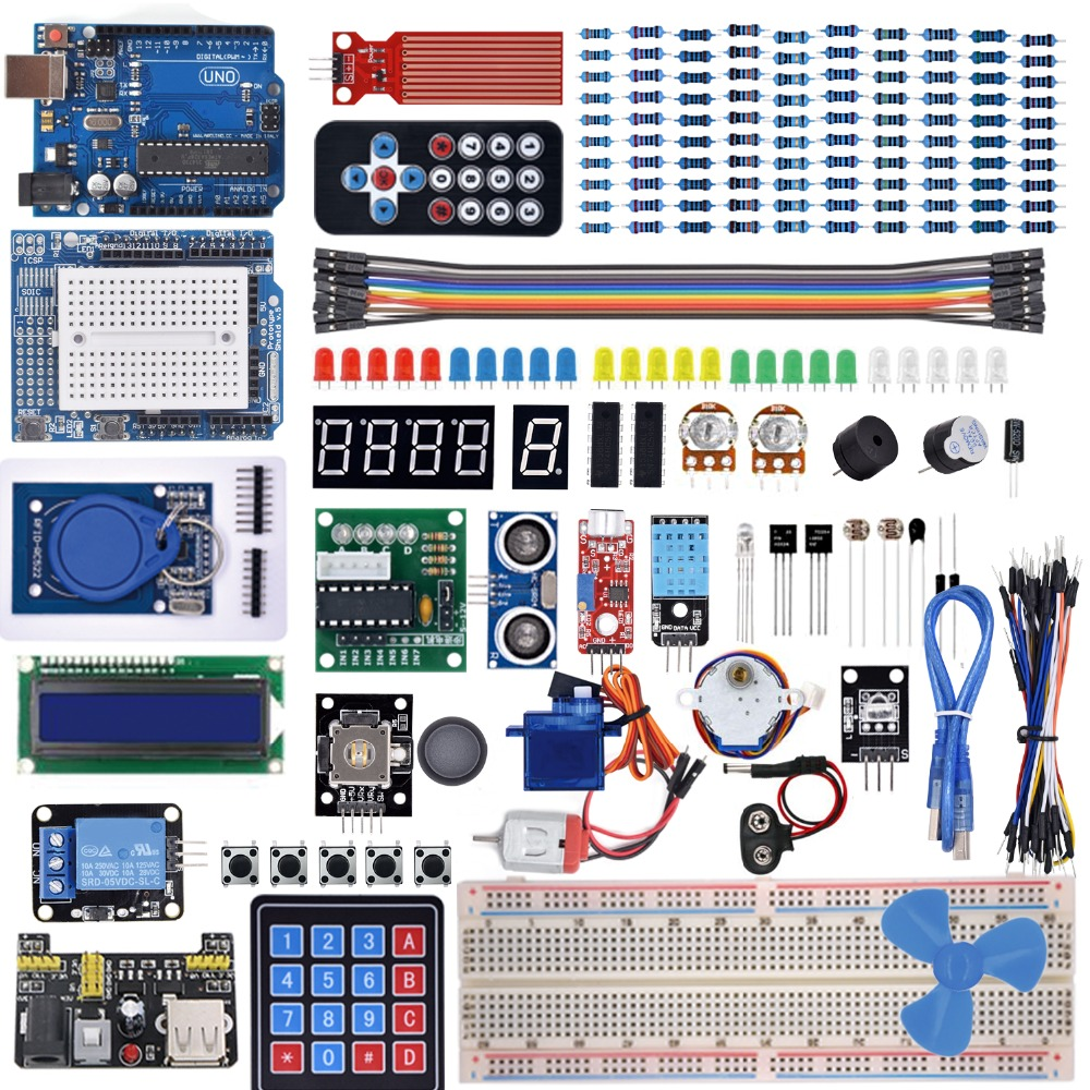 Starter Kit For Arduino Uno R3 -Breadboard / Step Motor / Servo /1602 LCD / Jumper Wire/ UNO R3 With Tutorial