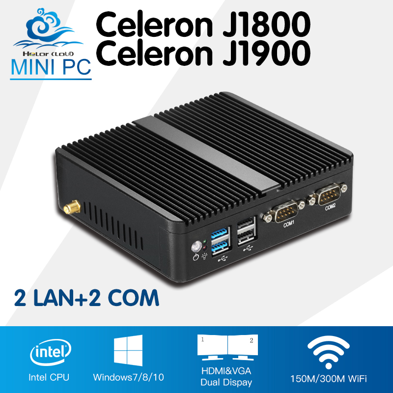 Mini PC Computer Celeron J1900 Quad Core Windows 10 Linux Celeron J1800 Dual Core Mini Industrial Desktop Computador 2*RJ45 xcy mini pc j1900 dual lan industrial computer celeron quad core 2 0ghz fanless business computer with 4 usb port 2 rs232