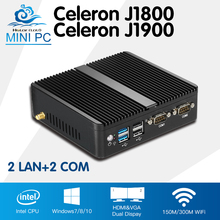 Mini PC Computer Celeron J1900 Quad Core Windows 10 Linux Celeron J1800 Dual Core Mini Industrial Desktop Computador 2*RJ45