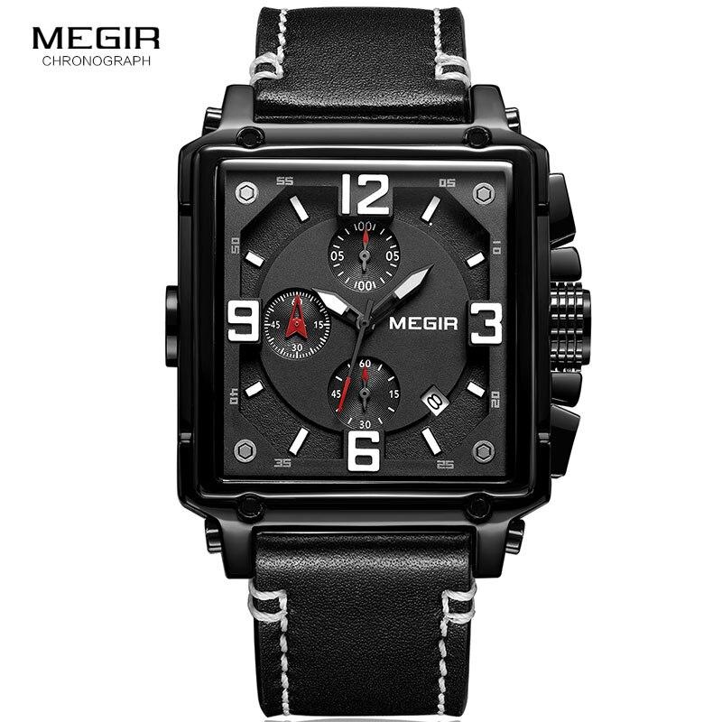 MEGIR Men's Military Sportz Quartz Watches Leather Square Dial 3atm Waterproof Wrist Watch for Man Relogios Masculino 2061 Black sportz