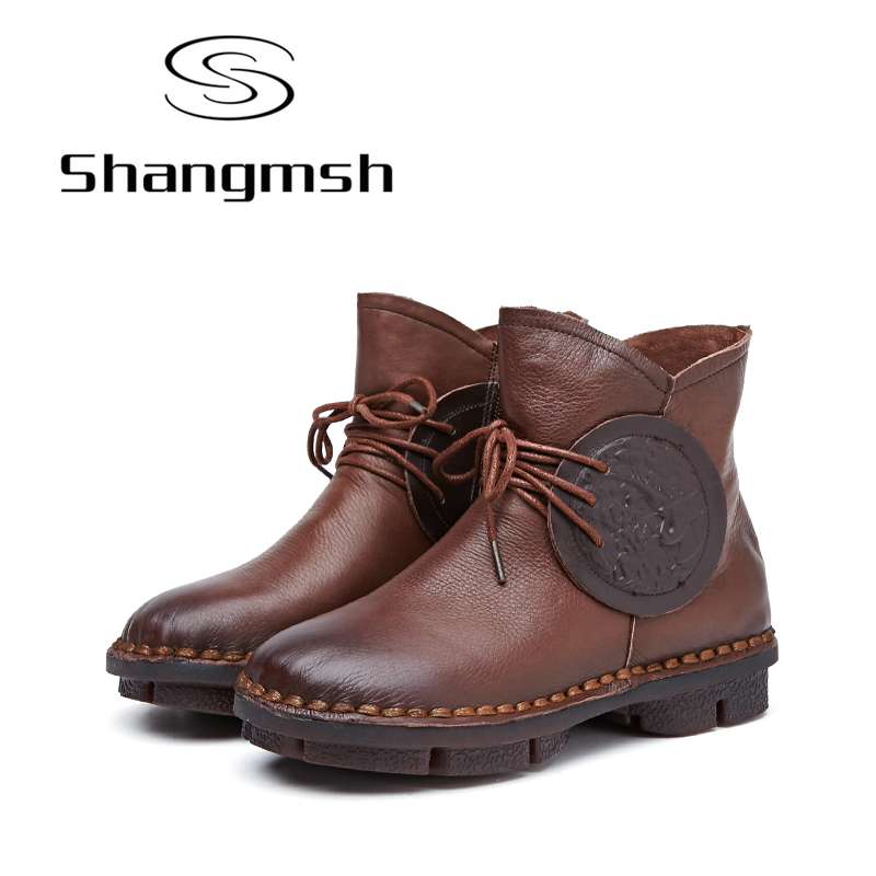 Shangmsh 2017 Women Boots Lace Up Martin Boots Women Ankle Fur Boots Brand Winter Women Shoes Genuine Leather Flats Shoes samool 2017 new arrival women boots lace up martin boots women ankle fur boots brand winter women shoes female high heel shoes page 9
