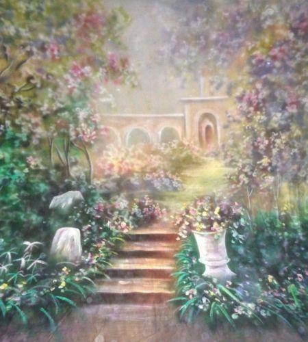 Professionnel 10X20ft Mousseline 100% Main-Peint Scenic Contexte, printemps fleur de mariage photographie fond
