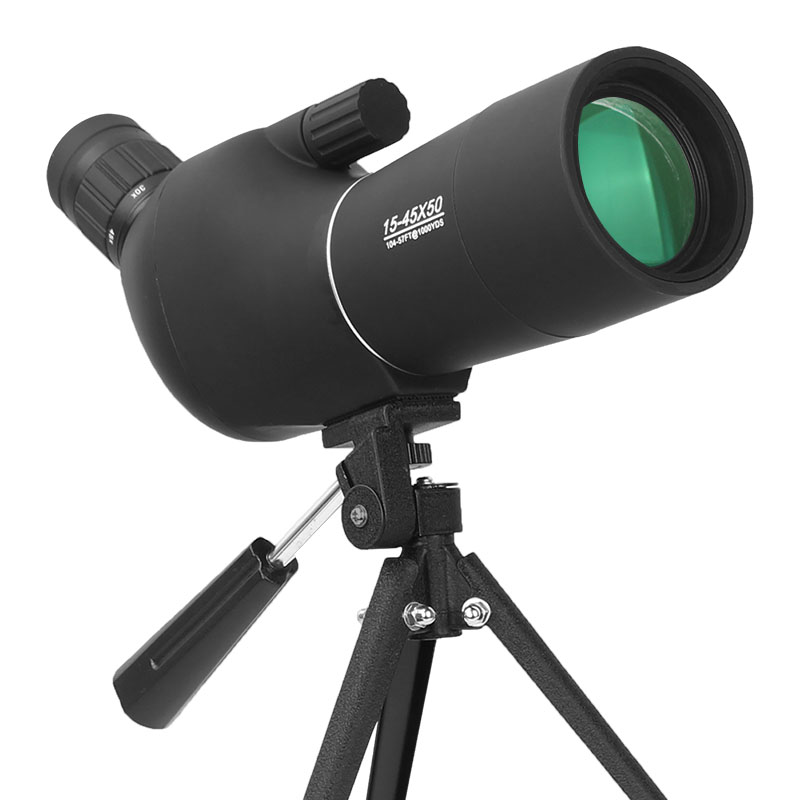 15 45X50 Spotting Scope Compact Zoom Birdwatch Monocular Telescope with Tripod HD Long Range Target Shooting