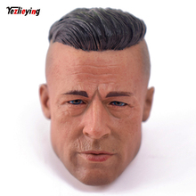 1:6 scale male head sculpt Carving Brad Pitt Head sculpt In Action figures model angry with tank For 12Hottoys Body Doll Figure mnotht black male soldier head carvings model wild curl up 1 6 scale smile kobe head sculpt toys for 12in action figures m3
