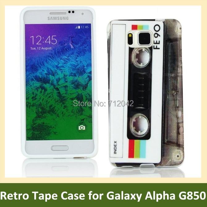 OEEKOI retro kazetová páska rádio tisk měkké TPU gel kryt telefon pouzdro pro Samsung Galaxy Alpha G850 Doprava zdarma