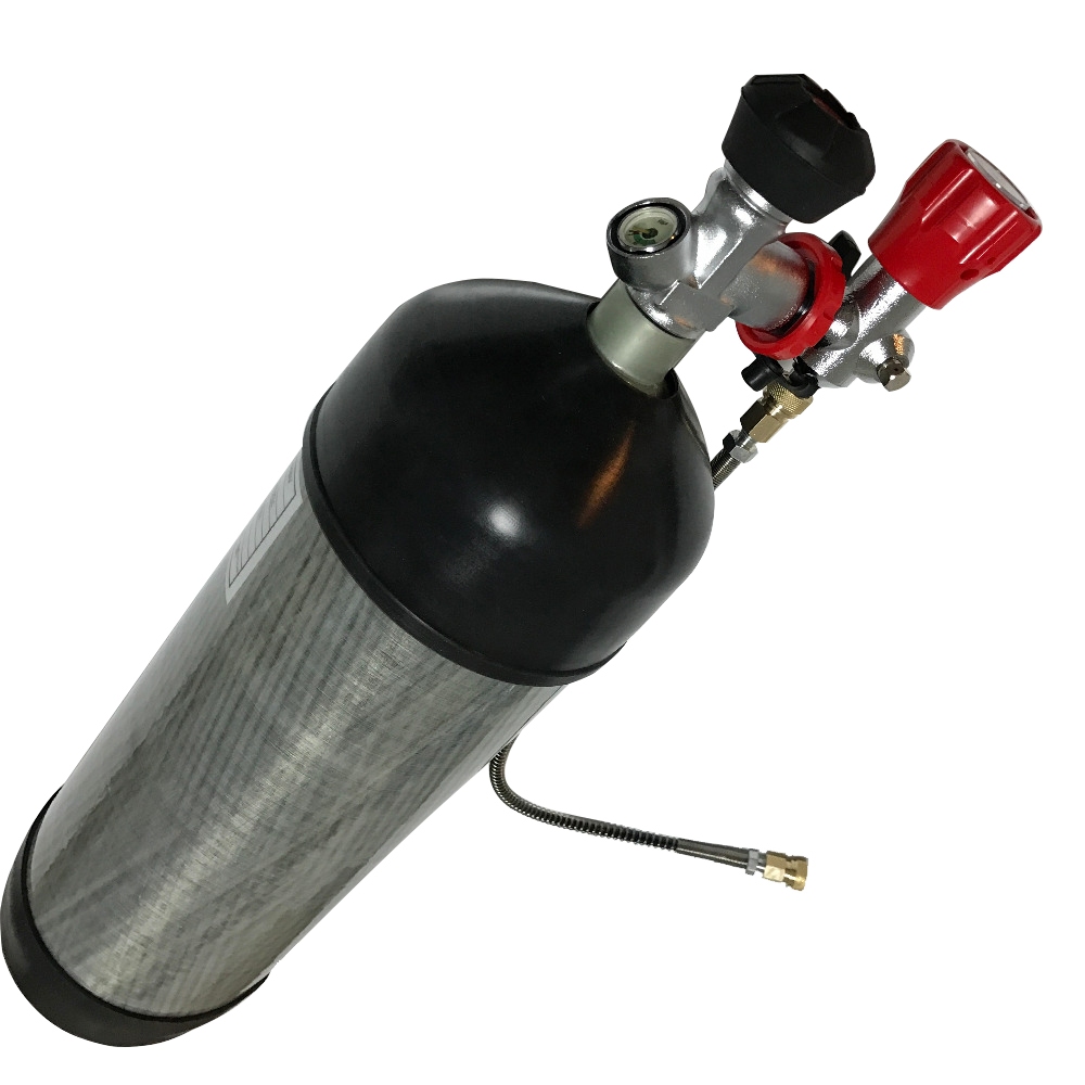 AC1683 6.8L Air Rifle Accessories Carbon Fiber Gas Cylinder & Gauge Valve & Fill Station & Protective Rubber Cups Underwater Gun
