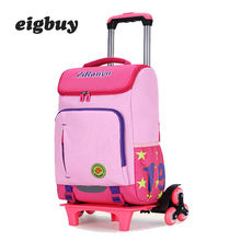 цены Kids Boys Girls Trolley School Bag Luggage Book Bags Backpack Latest Removable Backpacks For Children School Bag 2/6 Wheels
