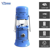 3 in 1 LED Solar Powered Camp Lantern Light Flashlight Portable Collapsible Hand Lamp Bluetooth Music Speaker Outdoor Tent Light