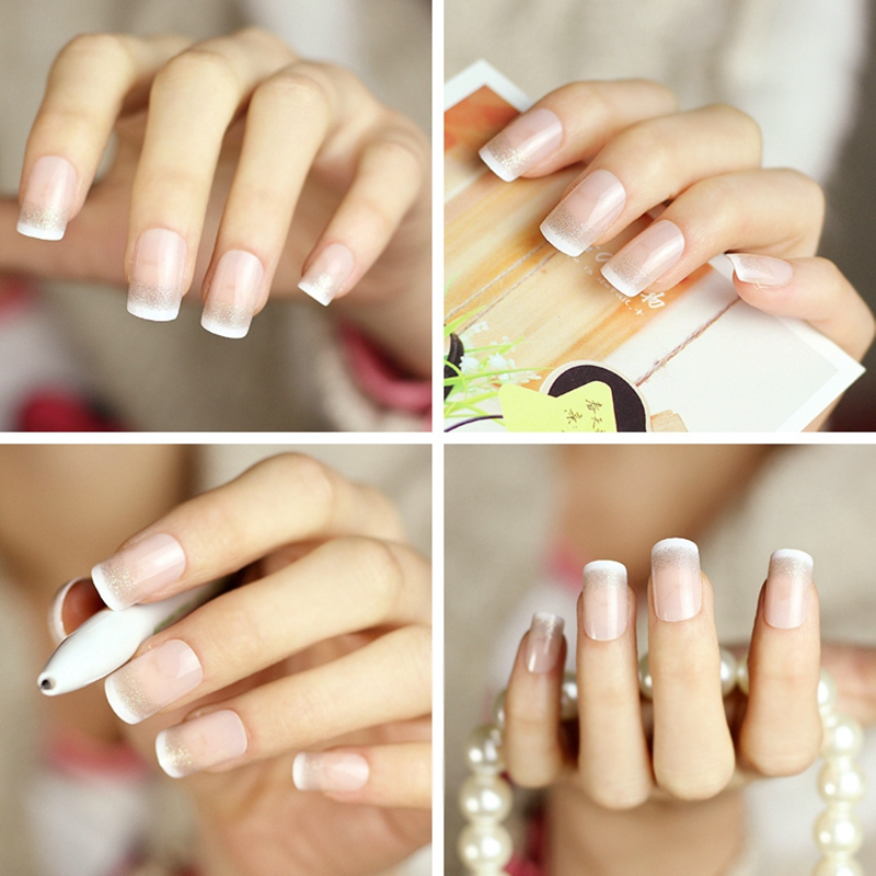 White French Natural Nude Color False Nail Art Tips with Silver ...