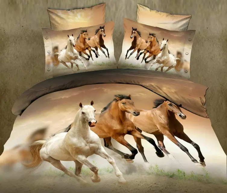 Luxury Queen 3D Horse Bedding Set, Duvet Cover,Bed Sheet, Pillowcase Set, 4Pcs Bed Set 14