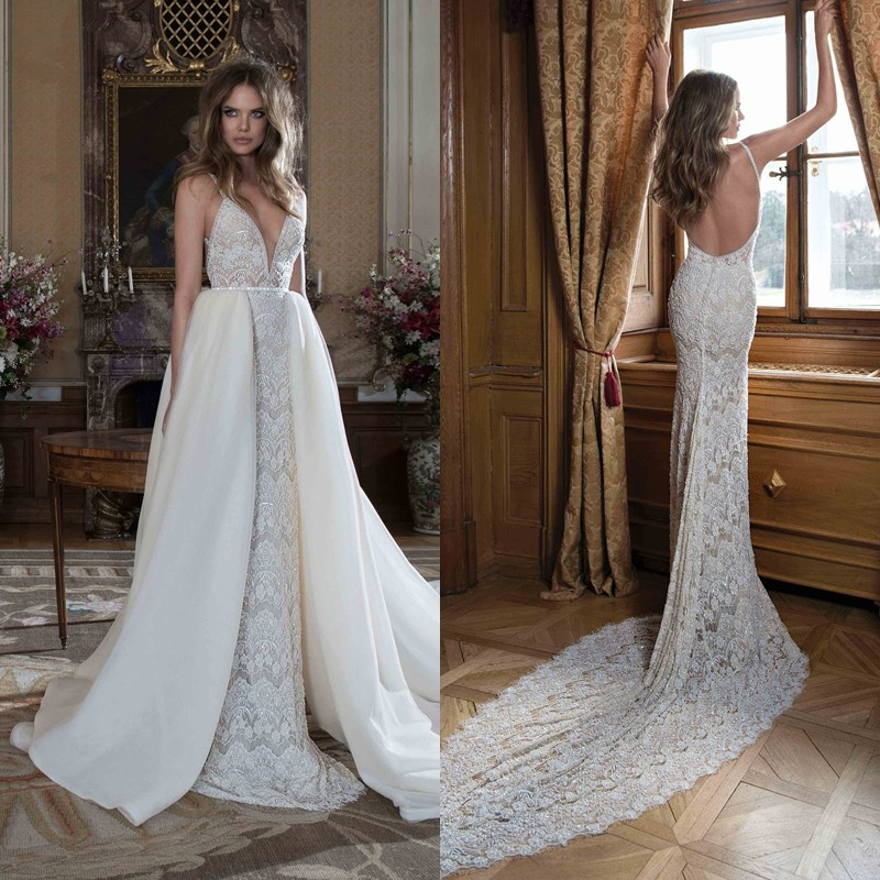 Fashion Romantic Removable Long Wedding Dress With Tarin
