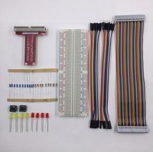 rasberry pi 2 kit 40pin GPIO Cable / 40pin GPIO Extension Board / 830 Points Breadboard for raspberry learning suit