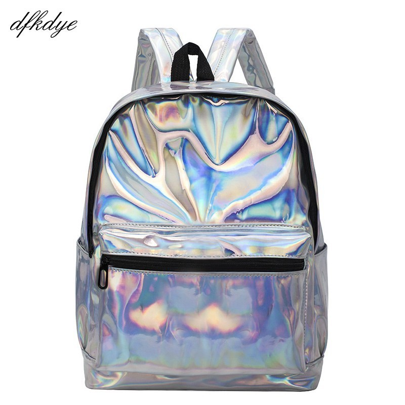 Teenage Girls Leather Holographic School Bags Fashion Students Women Silver Hologram Clear Backpack Laser Bag For Sac A Dos
