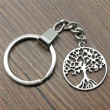 25x25mm Tree Of Life Keychain 2 Colors Antique Bronze Silver Fashion Handmade Party Gift